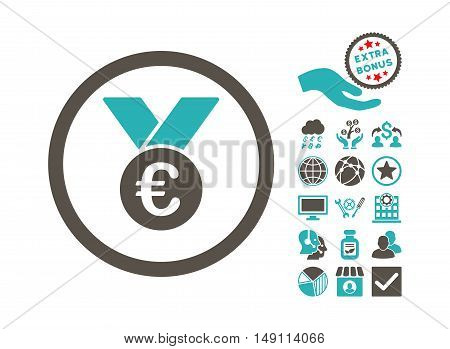 Euro Prize Medal pictograph with bonus images. Vector illustration style is flat iconic bicolor symbols grey and cyan colors white background.