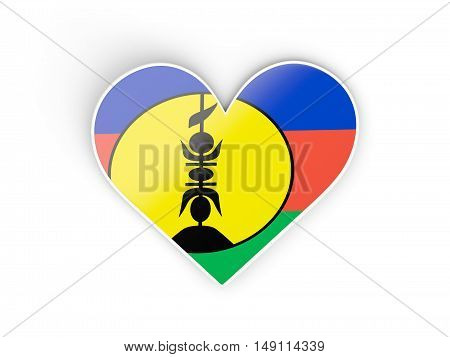 Flag Of New Caledonia, Heart Shaped Sticker