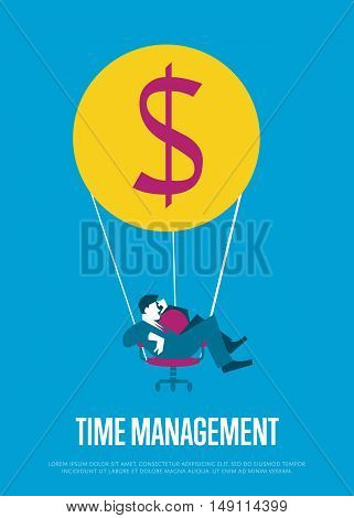Young efficient businessman flying on hot air balloon with office chair instead of basket. Time management banner, vector illustration. Time is money, abstract concept. Isolated character