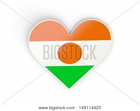 Flag Of Niger, Heart Shaped Sticker