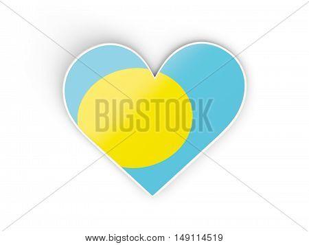 Flag Of Palau, Heart Shaped Sticker