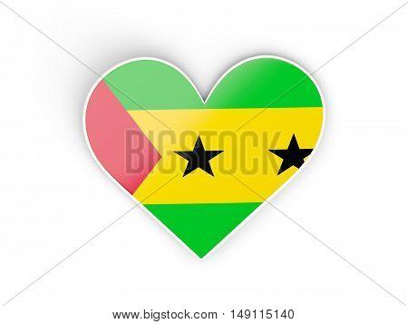 Flag Of Sao Tome And Principe, Heart Shaped Sticker