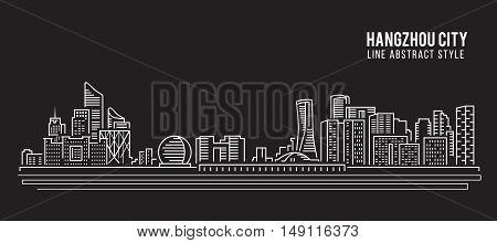 Cityscape Building Line art Vector Illustration design - Hangzhou city