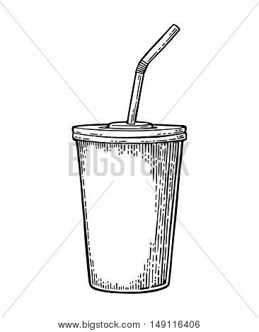 Paper red cup with straws for cola. Isolated on white background. Vector black engraving illustration for poster menus web banner icon