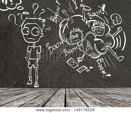 Creative sketch of two young men fighting over money and one confused guy with question marks. 3D Rendering