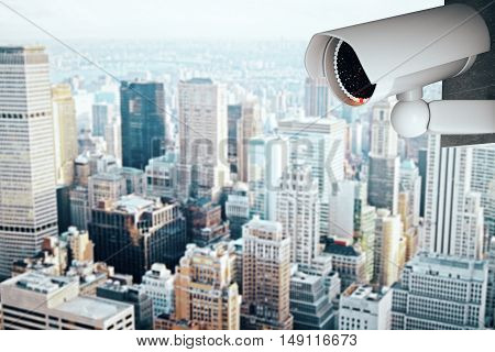 3D Rendering of a white CCTV security camera on modern city background with copy space