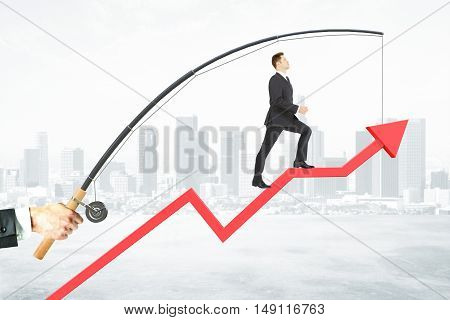 Businessman walking on abstract red arrow suspended on fishing rod. City background. Success concept. 3D Rendering