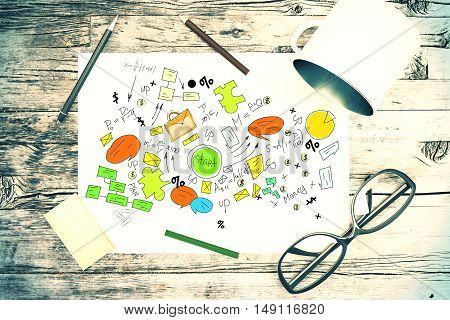 Top view of wooden desktop with creative business sketch glasses iron mug and other items. 3D Rendering