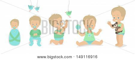 Boys set different ages from birth to five years. Vector illustration. Caucasian