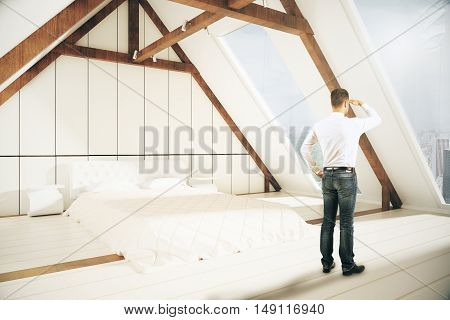 Young man looking into the distnace in loft bedroom interior. Research concept. 3D Rendering