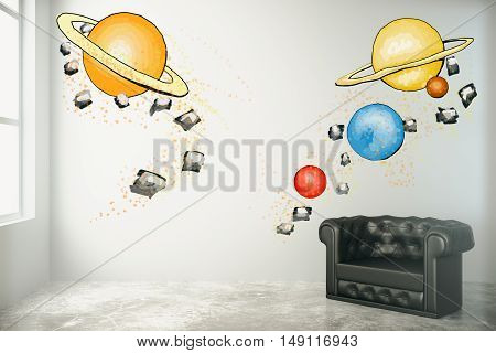 Room interior with abstract planets drawing on concrete wall black leather armchair and window with daylight. Imagination concept. 3D Rendering