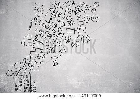 Creative drawing of business icons on concrete background