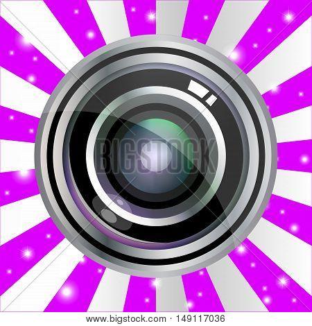 Modern Vector Realistic Lens Design On Violet Vintage Background. Vector Illustration
