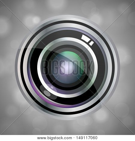 Modern Vector Realistic Lens Design On Grey Abstract Background. Vector Illustration