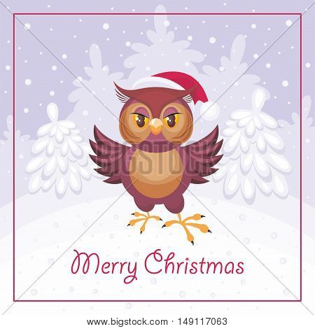 Merry Christmas greeting card with the image of a fairytale winter forest and owl in Santa Claus's cap