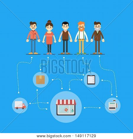 Teamwork people together vector. Business team and teamwork concept. Teamwork people partnership and teamwork business community concept. Cartoon teamwork people characters. Social network of teamwork people. Social media and social network people connect