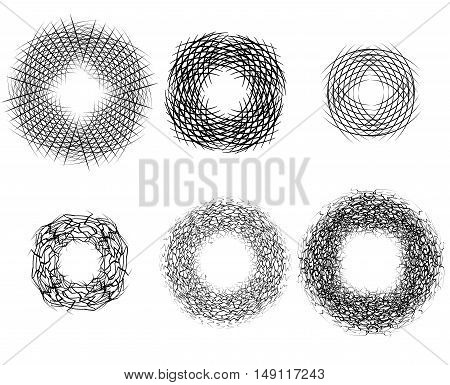 Set of round frames of strokes. Nests of birds. Vector element for banners icons and your design