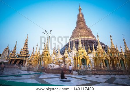 Shwedagon Pagoda, one of the most famous golden pagodas in the world, in Yangon, Myanmar. One section under renovation