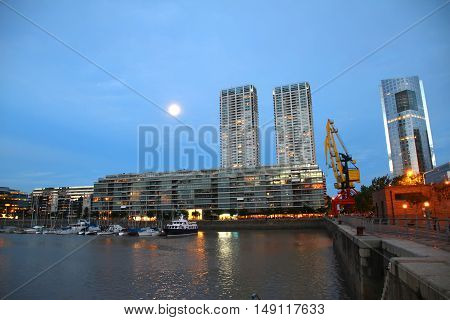 Night shot of the Puerto Madero in Buenos Aires Argentina South america.