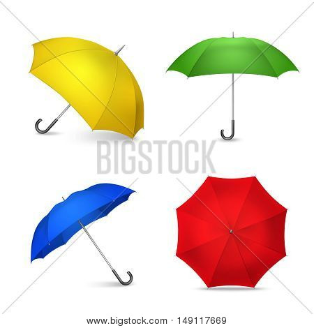 Ladies fashion accessories 4 bright colorful umbrellas realistic square composition in yellow blue green red isolated vector illustration