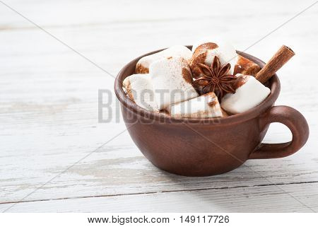 Winter hot drink. Hot chocolate with marshmallow and spices.