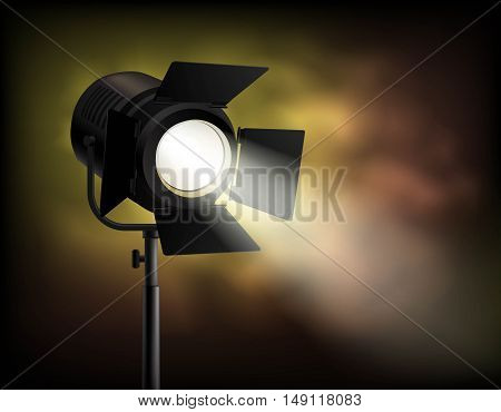 Classical cinematographic movie shooting realistic spotlight poster with dark blurry misty with smoke effect background vector illustration