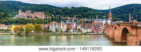 Impressive medieval town Heidelberg. view with famous castle and bridge Karl Theodor