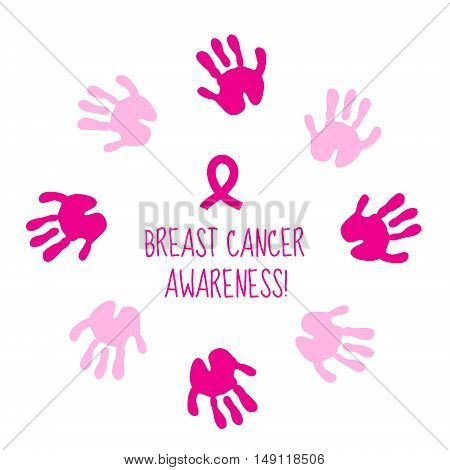 Pink ribbon. Breast cancer awareness symbol isolated on white background. Breast Cancer Card