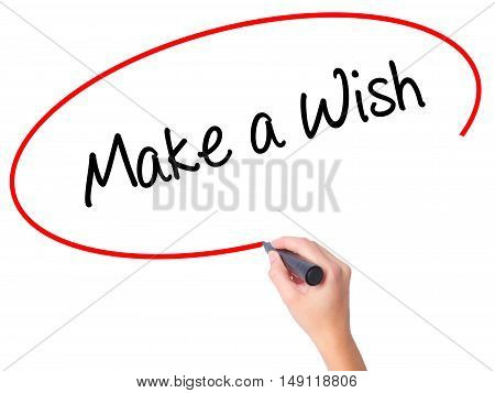 Women Hand Writing Make A Wish  With Black Marker On Visual Screen