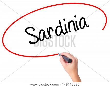 Women Hand Writing Sardinia  With Black Marker On Visual Screen