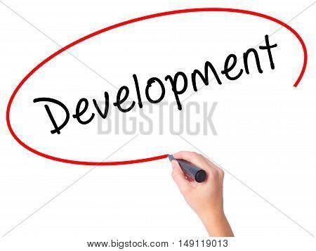 Women Hand Writing Development With Black Marker On Visual Screen
