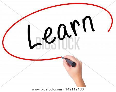 Women Hand Writing Learn With Black Marker On Visual Screen