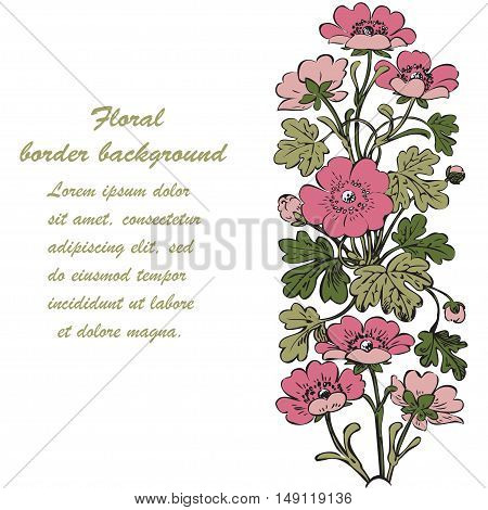 Floral bush retro on white background vector hand drawn decorative flower vintage contour closeup branch with flowers and buds print design