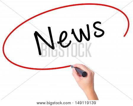 Women Hand Writing News With Black Marker On Visual Screen
