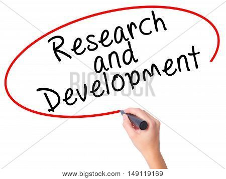 Women Hand Writing Research And Development With Black Marker On Visual Screen