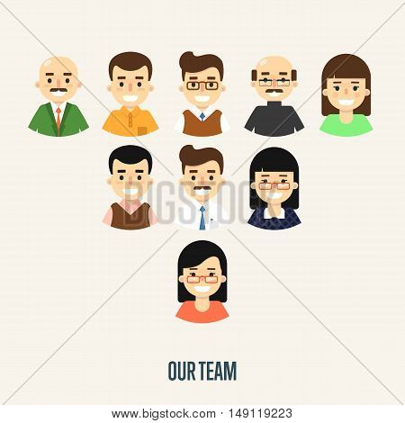 Group of smiling male and female faces avatars on white background. Our team banner, vector illustration. Teamwork and business team concept. Corporate hierarchy. Business success.