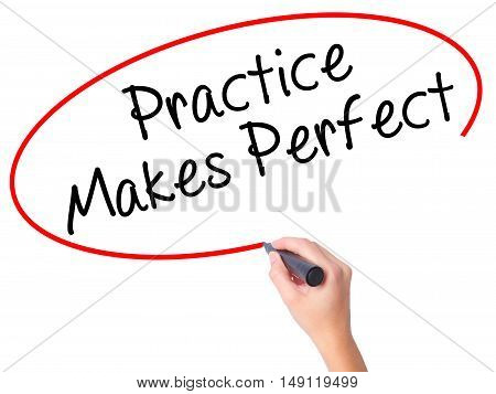 Women Hand Writing Practice Makes Perfect With Black Marker On Visual Screen