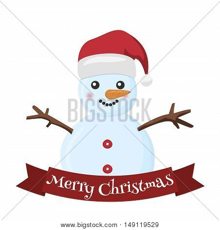 Snow holiday cold celebration snowman december cartoon symbol. Snowman vector illustration frozen character man on white background. Happy cute white snowman christmas hat. Merry christmas.