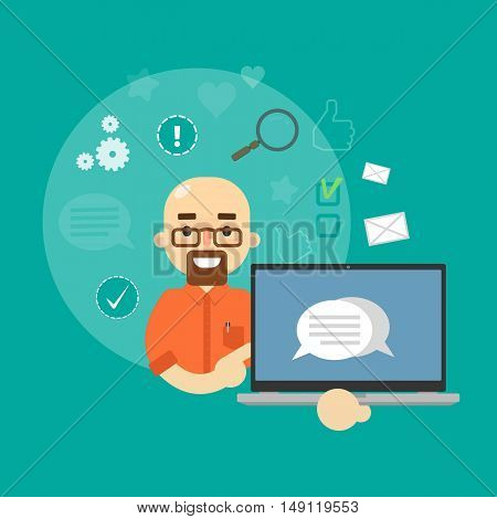 Smiling cartoon man holding laptop with speech bubbles on screen. Social media banner on green background with communication icons, vector illustration. Connecting people, social networking.