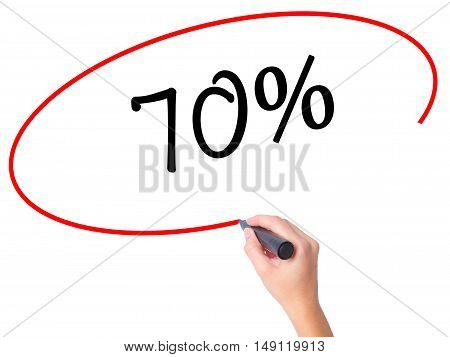 Women Hand Writing 70% With Black Marker On Visual Screen