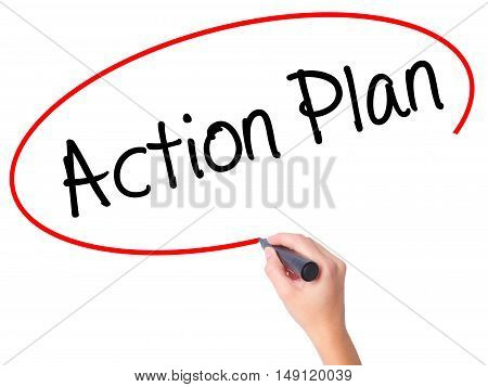 Women Hand Writing Action Plan With Black Marker On Visual Screen