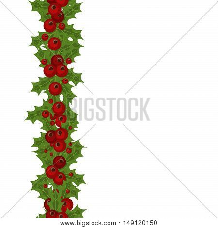 Green Christmas garlands of holly and mistletoe. Horizontal seamless background with Christmas holly. Christmas border seamless pattern holly vector decoration holiday winter background.