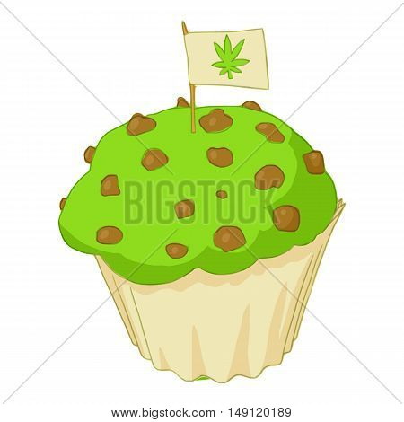 Muffin with marijuana icon in cartoon style isolated on white background. Food with drug symbol vector illustration