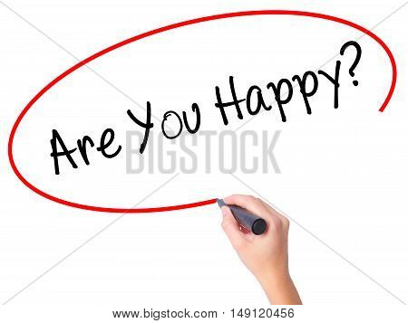 Women Hand Writing Are You Happy? With Black Marker On Visual Screen