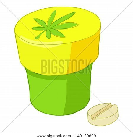 Jar and pills of marijuana icon in cartoon style isolated on white background. Drug symbol vector illustration