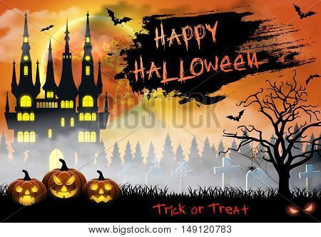 Spooky card for Halloween. orange background with full moon, tombstones, spider, castle and bats. Halloween Party with pumpkins. Vector Illustration.