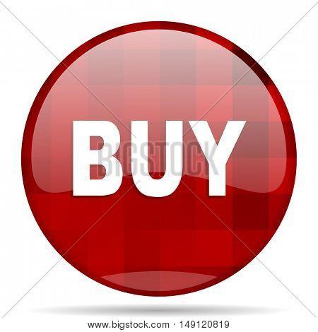 buy red round glossy modern design web icon