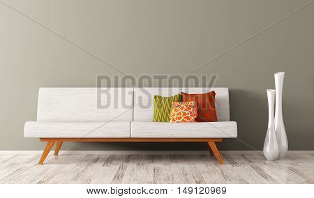 Modern Interior Of Living Room With White Sofa 3D Render