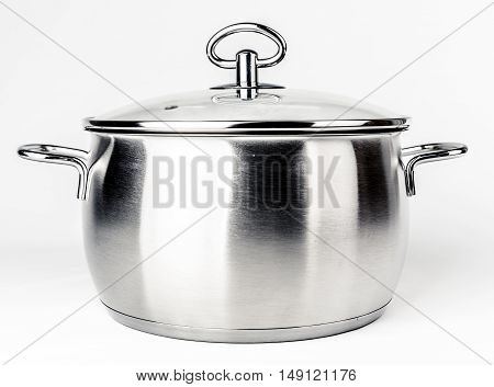 Metal stock pot with glass lid. Cookware