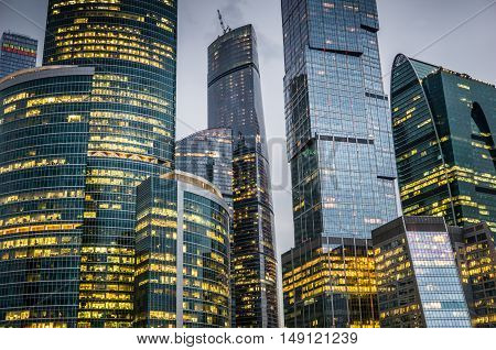 Skyscrapers of Moscow city business center at night.